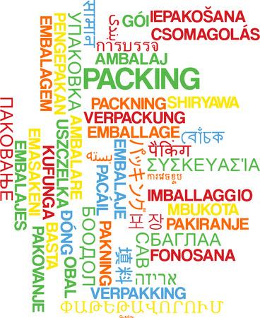 packing: Background concept wordcloud multilanguage international many language illustration of packing Stock Photo
