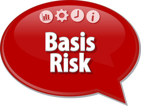 basis: Speech bubble dialog illustration of business term saying Basis Risk
