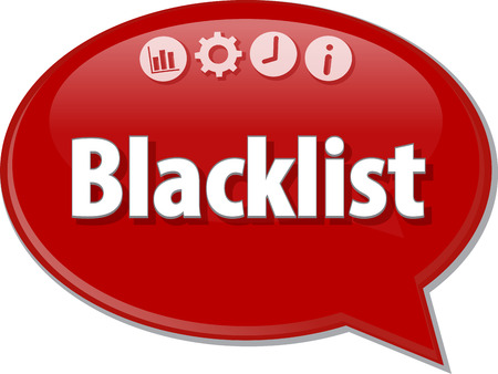term: Speech bubble dialog illustration of business term saying Blacklist Stock Photo