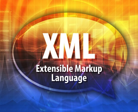 extensible: Speech bubble illustration of information technology acronym abbreviation term definition XML Extensible Markup Language Stock Photo