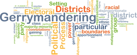 boundaries: Background concept wordcloud illustration of gerrymandering