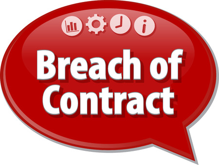 terminology: Speech bubble dialog illustration of business term saying Breach of Contract Stock Photo