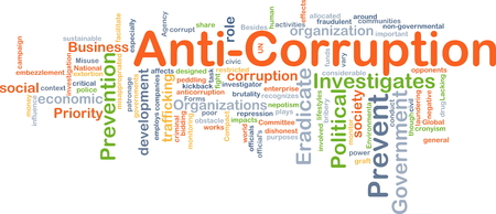 Background concept wordcloud illustration of anti-corruption Banco de Imagens