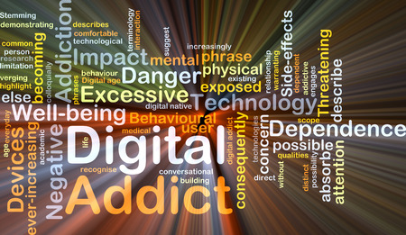 addict: Background concept wordcloud illustration of digital addict glowing light