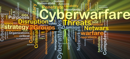 cyberwarfare: Background concept wordcloud illustration of cyberwarfare glowing light