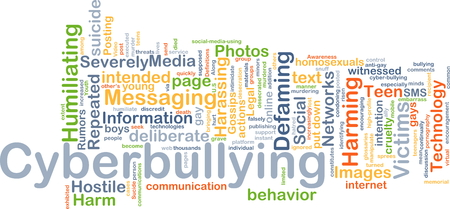 harassing: Background concept wordcloud illustration of cyberbullying