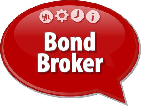 bond: Speech bubble dialog illustration of business term saying Bond Broker