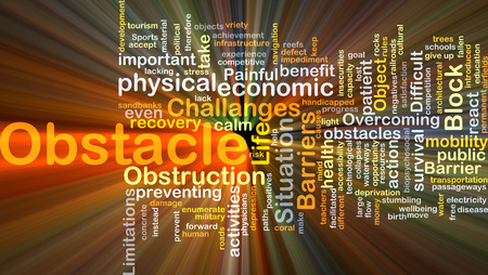 obstacle: Background concept wordcloud illustration of obstacle glowing light Stock Photo