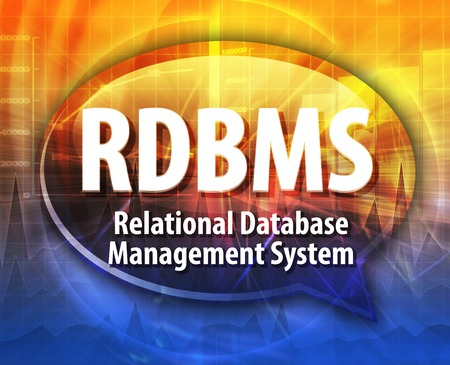 relational: Speech bubble illustration of information technology acronym abbreviation term definition RDBMS Relational Database Management System