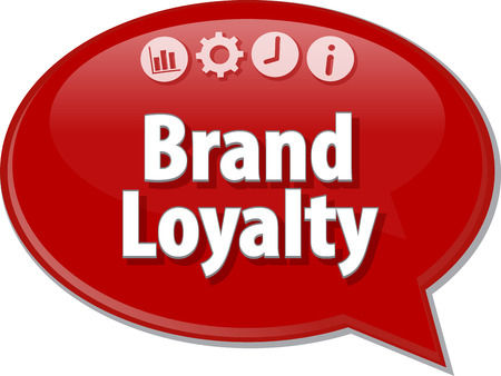 Speech bubble dialog illustration of business term saying Brand Loyalty