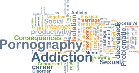 pornografia: Concepto de fondo wordcloud ilustraci�n de la adicci�n a la pornograf�a Foto de archivo