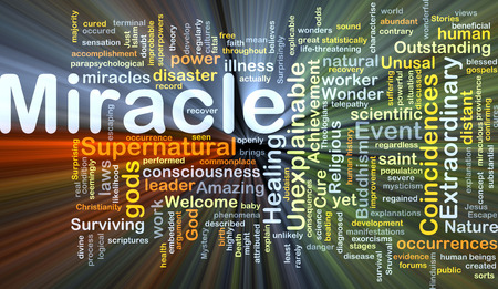 believes: Background concept wordcloud illustration of miracle glowing light
