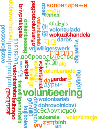 volunteering: Background concept wordcloud multilanguage international many language illustration of volunteering