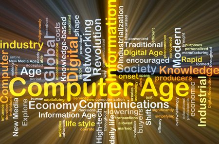 computerization: Background concept wordcloud illustration of computer age glowing light
