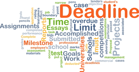 essays: Background concept wordcloud illustration of deadline Stock Photo