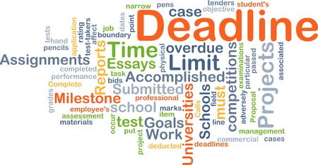 soumis: Fond, concept, wordcloud illustration de la date limite