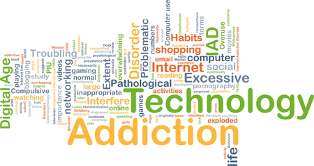 overuse: Background concept wordcloud illustration of technology addiction Stock Photo