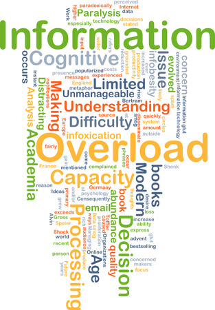 paralysis: Background concept wordcloud illustration of information overload Stock Photo
