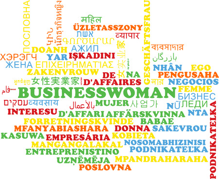 multilanguage: Background concept wordcloud multilanguage international many language illustration of businesswoman