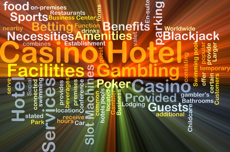 amenities: Background concept wordcloud illustration of casino hotel glowing light