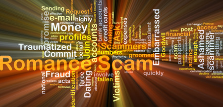 scam: Background concept wordcloud illustration of romance scam glowing light