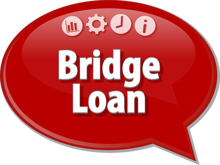 intermediate: Speech bubble dialog illustration of business term saying Bridge Loan Stock Photo