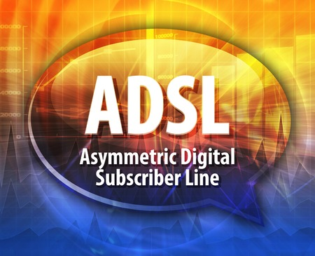 subscriber: Speech bubble illustration of information technology acronym abbreviation term definition ADSL Asymmetrical Digital Subscriber Line