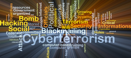 word clouds: Background concept wordcloud illustration of cyberterrorism glowing light