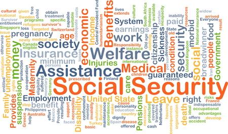 Achtergrond concept wordcloud illustratie van de sociale zekerheid Stockfoto