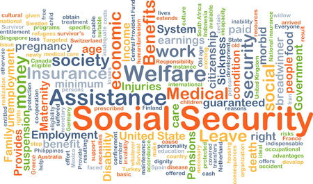 Background concept wordcloud illustration of social security