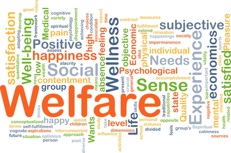 subjective: Background concept wordcloud illustration of welfare
