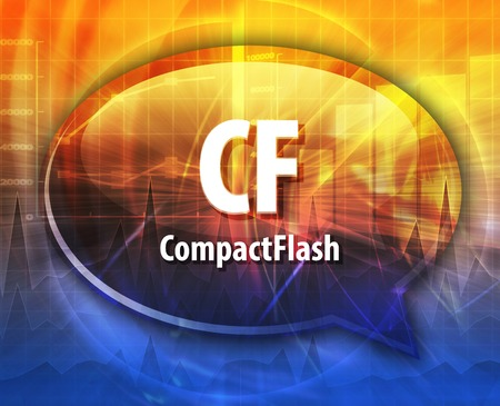 cf: Speech bubble illustration of information technology acronym abbreviation term definition CF Compact Flash Stock Photo