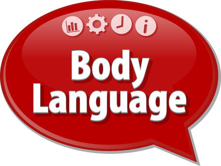 body language: Speech bubble dialog illustration of business term saying Body Language Stock Photo