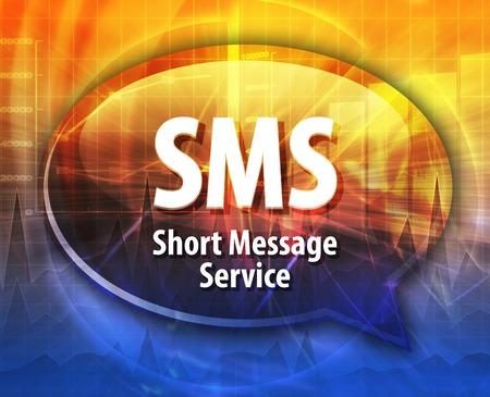 short message service: Speech bubble illustration of information technology acronym abbreviation term definition SMS Short Message Service