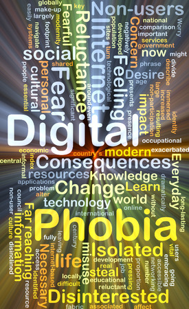 phobia: Background concept wordcloud illustration of digital phobia glowing light