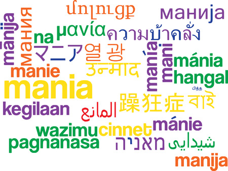 madness: Background concept wordcloud multilanguage international many language illustration of mania