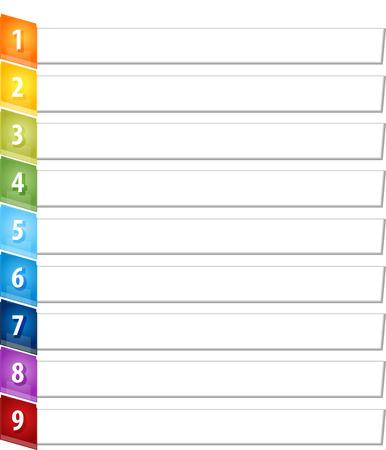 slant: Blank business strategy concept infographic diagram illustration Slant Items Nine