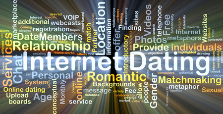 internet dating: Background concept wordcloud illustration of internet dating glowing light