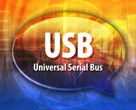 serial: Speech bubble illustration of information technology acronym abbreviation term definition USB Universal Serial Bus