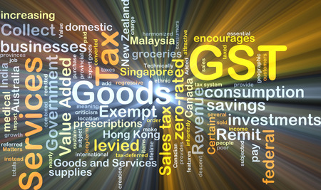 levied: Background concept wordcloud illustration of GST glowing light Stock Photo