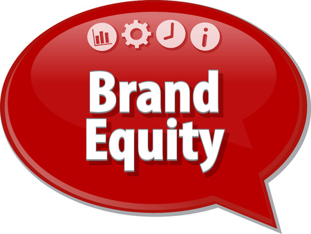 terminology: Speech bubble dialog illustration of business term saying Brand Equity