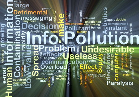 detrimental: Background concept wordcloud illustration of info pollution glowing light