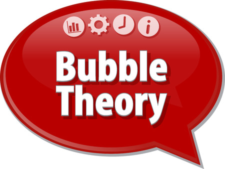 saying: Speech bubble dialog illustration of business term saying Bubble Theory