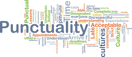 fulfil: Background concept wordcloud illustration of punctuality