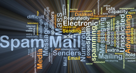 unsolicited: Background concept wordcloud illustration of spam mail glowing light