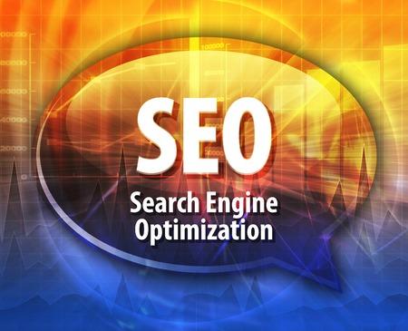 abbreviation: Speech bubble illustration of information technology acronym abbreviation term definition SEO Search Engine Optimization Stock Photo