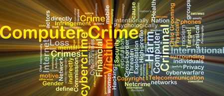 computer crime: Background concept wordcloud illustration of computer crime glowing light
