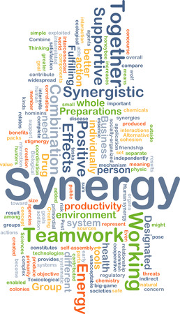 widespread: Background concept wordcloud illustration of synergy