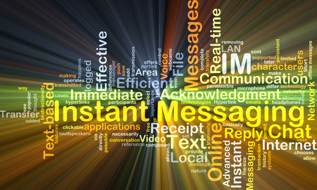 instant messaging: Background concept wordcloud illustration of instant massaging IM glowing light