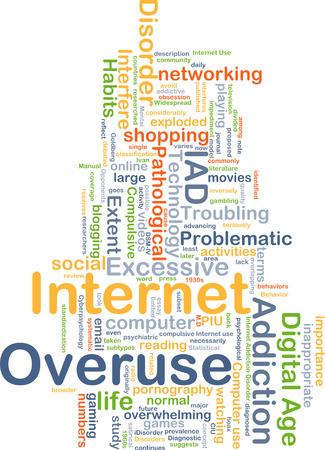 Background concept wordcloud illustration of internet overuse